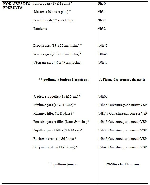 Horaires 2015
